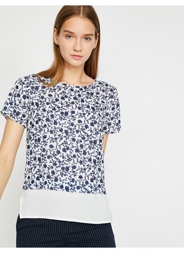 Koton Çiçekli Kısa Kollu Bluz Beyaz